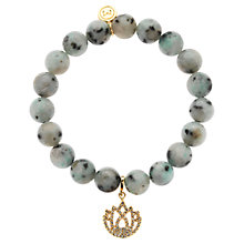 Buy Melissa Odabash Lotus Charm Bead Bracelet, Grey Online at johnlewis.com