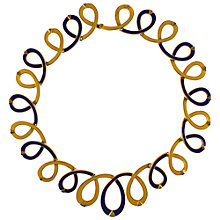 Buy Eclectica 1970s Enamel Loop Necklace, Yellow / Navy Online at johnlewis.com