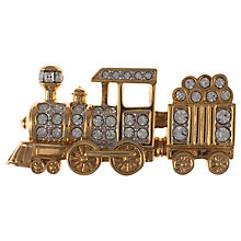 Buy Eclectica 1980s Swarovski Paste Train Brooch, Gold Online at johnlewis.com
