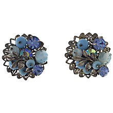 Buy Eclectica 1950s Robert Glass Bead Silver Plated Ear Clips, Blue Online at johnlewis.com