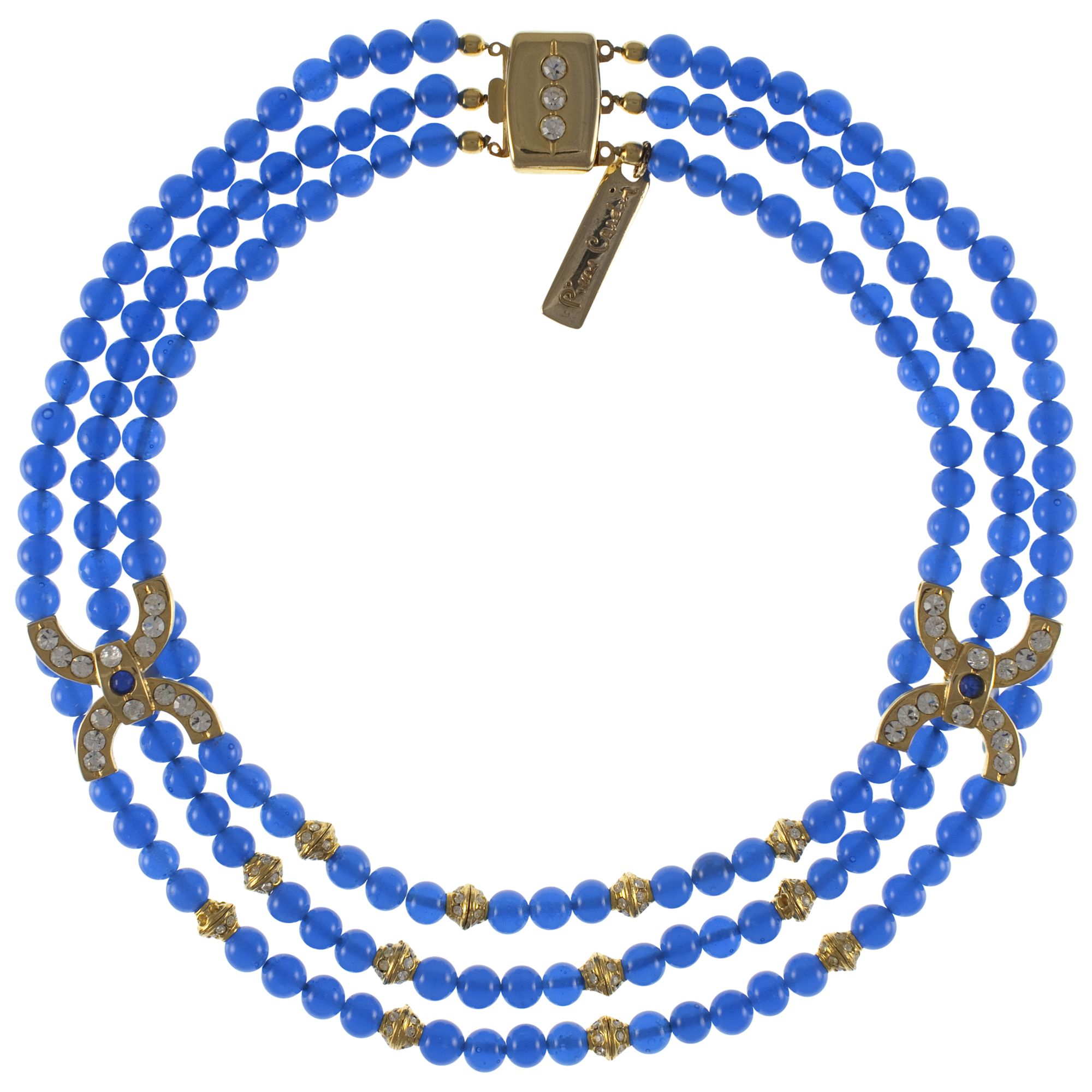 Eclectica 1970s Pierre Cardin Triple Row Bead Necklace, Blue / Gold