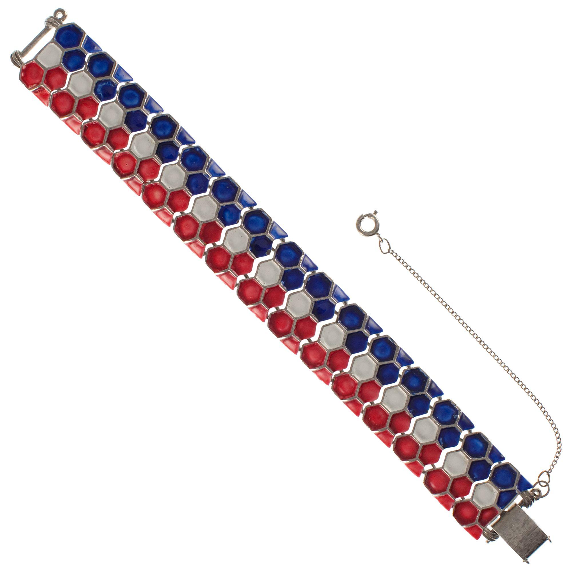 Eclectica 1950s Jewelcraft Enamel Honeycomb Tricolour Bracelet, Multi
