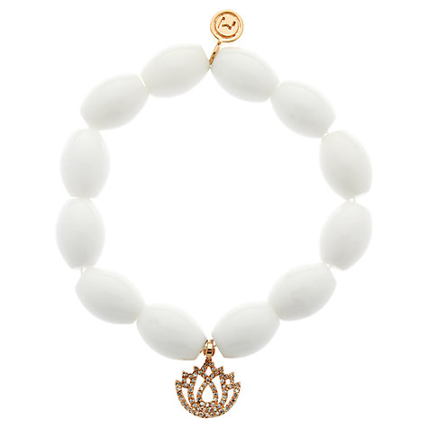 Buy Melissa Odabash Lotus Flower Charm Bead Bracelet, White Online at johnlewis.com