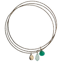 Buy Orelia Triple Drop Charm Bangle, Green Online at johnlewis.com