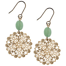 Buy Orelia Laser Cut Filigree Disc Bead Drop Earrings, Gold / Green Online at johnlewis.com