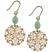 Orelia Laser Cut Filigree Disc Bead Drop Earrings