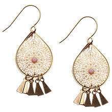 Buy Orelia Fine Cut-Out Fringed Earrings, Pink Online at johnlewis.com