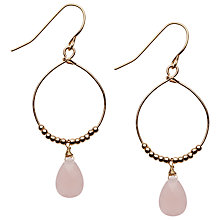Buy Orelia Teardrop Bead Hoop Earrings, Pink Online at johnlewis.com