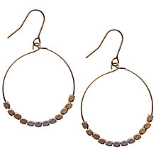 Buy Orelia Maricopa Triple Tone Metal Bead Hoop Earrings, Gold Online at johnlewis.com