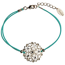 Buy Orelia Laser Cut Flower Cord Bracelet, Green Online at johnlewis.com