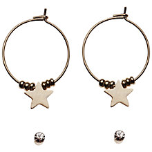 Buy Orelia Tuscon Stud and Star Hoop Earrings Set, Gold Online at johnlewis.com