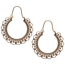Buy Orelia Fancy Filigree Hoop Earhooks, Gold Online at johnlewis.com