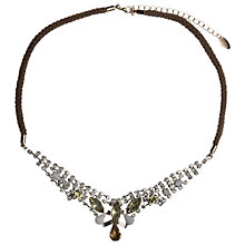 Buy Orelia Diamante Plaited Cotton Diamante Necklace, Jonquil Online at johnlewis.com