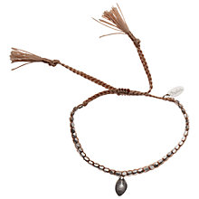 Buy Orelia Beaded Cotton Cord Leaf Bracelet, Tan Online at johnlewis.com