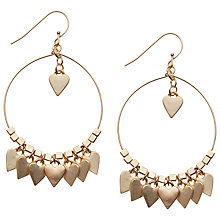 Buy Orelia Heart Drop Hoop Earrings, Gold Online at johnlewis.com
