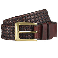 Buy Barbour Woven Leather Belt, Brown Online at johnlewis.com