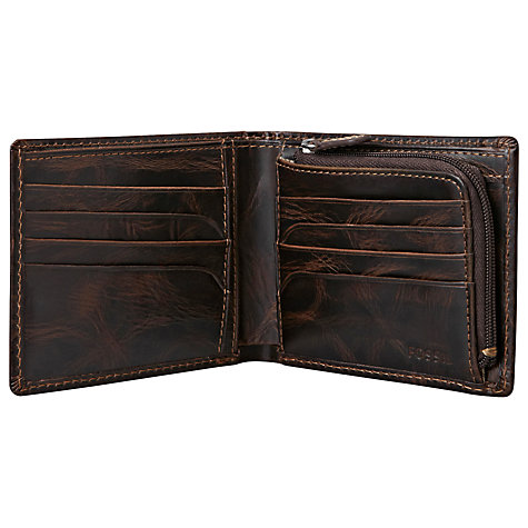 Buy Fossil Norton Zip Bifold Wallet, Brown Online at johnlewis.com