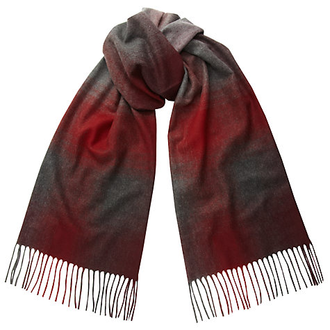 Buy John Lewis Cashmink Gradual Stripe Scarf, Burgundy/Grey Online at johnlewis.com
