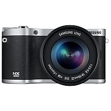 "Buy Samsung NX300 Compact System Camera with 18-55mm & 16mm Lens, HD 1080p, 20.3MP, Wi-Fi, NFC, 3.31"" Touch Screen, Black & Camera Case Online at johnlewis.com"