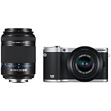 "Buy Samsung NX300 Compact System Camera with 20-50mm & 50-200mm Lens, HD 1080p, 20.3MP, Wi-Fi, NFC, 3.31"" Tilting Touch Screen, Black & Camera Case Online at johnlewis.com"