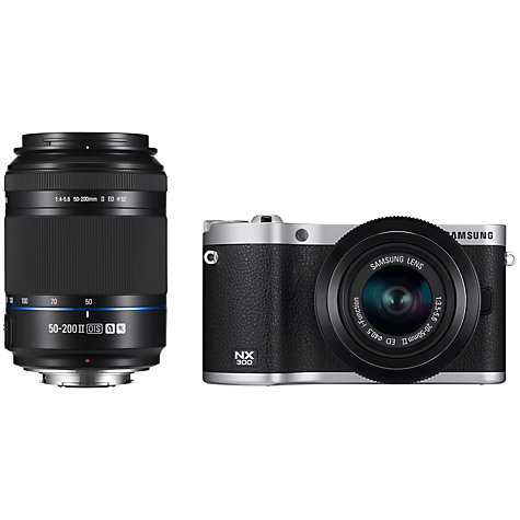 Buy Samsung NX300 Compact System Camera with 20-50mm & 50-200mm Lens, HD 1080p, 20.3MP, Wi-Fi, NFC, Flash, 3.31 Tilting Touch Screen Online at johnlewis.com