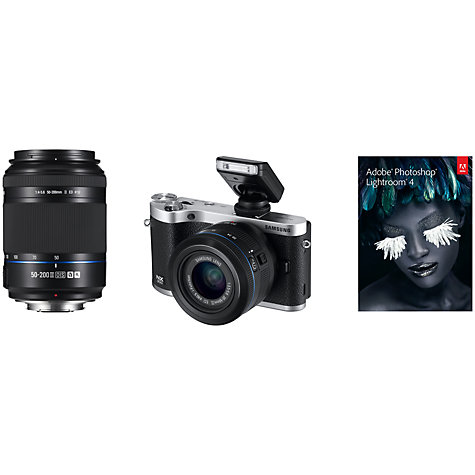 "Buy Samsung NX300 Compact System Camera with 20-50mm & 50-200mm Lens, HD 1080p, 20.3MP, Wi-Fi, NFC, 3.31"" Tilting Touch Screen Online at johnlewis.com"