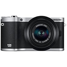 "Buy Samsung NX300 Compact System Camera with 20-50mm Lens, HD 1080p, 20.3MP, Wi-Fi, NFC, 3.31"" Tilting Touch Screen, Black and Camera Case Online at johnlewis.com"