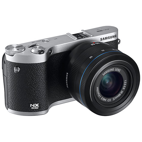 "Buy Samsung NX300 Compact System Camera with 20-50mm, HD 1080p, 20.3MP, Wi-Fi, NFC, 3.31"" Tilting Touch Screen Online at johnlewis.com"