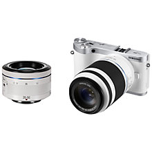 "Buy Samsung NX300 Compact System Camera with 20-50mm & 50-200mm Lens, HD 1080p, 20.3MP, Wi-Fi, NFC, Flash, 3.31"" Tilting Touch Screen, White with Half Price Camera Case Online at johnlewis.com"