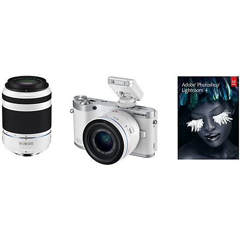 "Buy Samsung NX300 Compact System Camera with 20-50mm & 50-200mm Lens, HD 1080p, 20.3MP, Wi-Fi, NFC, Flash, 3.31"" Tilting Touch Screen Online at johnlewis.com"