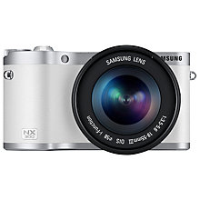 "Buy Samsung NX300 Compact System Camera with 18-55mm & 16mm Lens, HD 1080p, 20.3MP, Wi-Fi, NFC, 3.31"" Touch Screen, White & Camera Case Online at johnlewis.com"