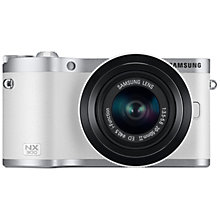 "Buy Samsung NX300 Compact System Camera with 20-50mm Lens, HD 1080p, 20.3MP, Wi-Fi, NFC, 3.31"" Titling Touch Screen, White & Camera Case Online at johnlewis.com"
