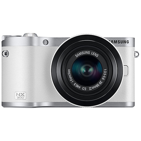 "Buy Samsung NX300 Compact System Camera with 20-50mm Lens, HD 1080p, 20.3MP, Wi-Fi, NFC, Flash, 3.31"" Titling Touch Screen, White Online at johnlewis.com"