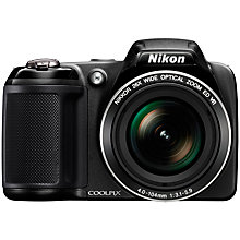 "Buy Nikon CoolPix L320 Bridge Camera, HD 720p, 16.1MP, 26x Optical Zoom, 3"" LCD Screen, Black Online at johnlewis.com"