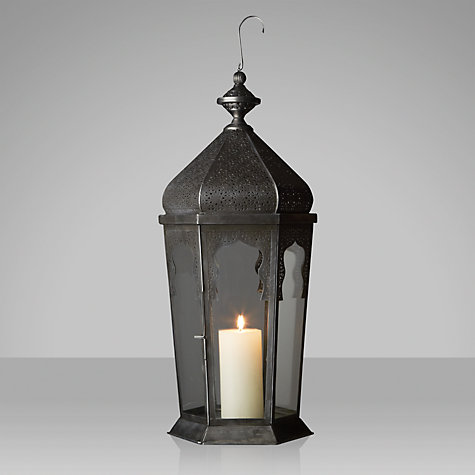 Buy John Lewis Moroccan Lantern, Extra Large, Antiqued Silver Online at johnlewis.com