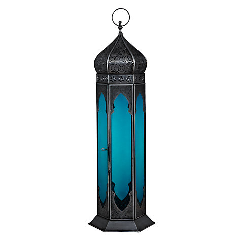 Buy John Lewis Punched Lantern, Large, Teal Online at johnlewis.com