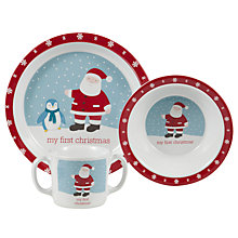 Buy John Lewis Baby My First Christmas Melamine Dinner Set, Red Online at johnlewis.com