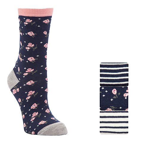 Buy John Lewis, Pack of 3, Floral Ankle Length Socks Online at johnlewis.com