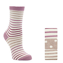 Buy John Lewis, Pack Of 3, Stripes & Spot Ankle Socks, Oatmeal / Pink Online at johnlewis.com