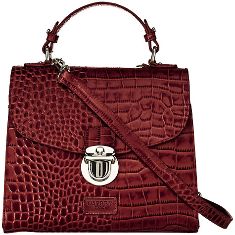 Buy OSPREY LONDON Maudie Croc Print Grab Satchel Handbag Online at johnlewis.com