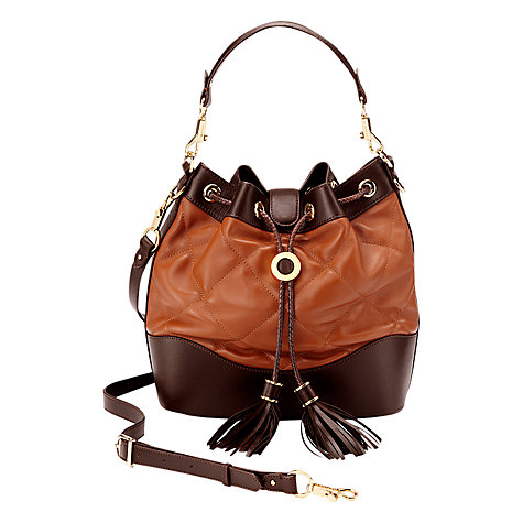 Buy Aspinal of London Mariella Leather Drawstring Handbag, Coral Online at johnlewis.com