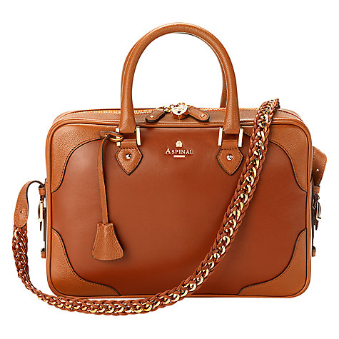 Buy Aspinal of London Sofia Leather Grab Handbag, Tan Online at johnlewis.com