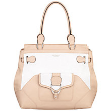 Buy Modalu Ascot Leather Tote Handbag, Nude/White Online at johnlewis.com