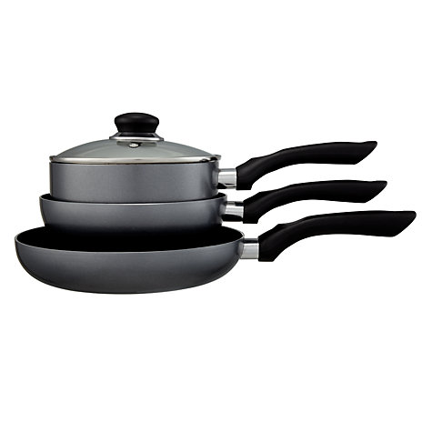 Buy John Lewis The Basics Saucepan Set, 3 Piece Online at johnlewis.com