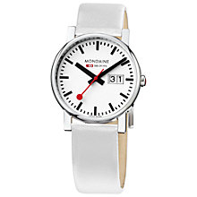 Buy Mondaine A669.30300.11SBN Unisex Evo Leather Strap Date Watch Online at johnlewis.com