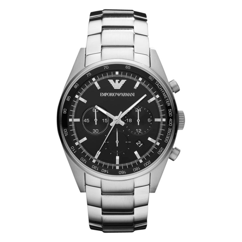 Emporio Armani AR5980 Men's Tazio Stainless Steel Chronograph Watch, Silver / Black