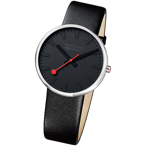 Buy Mondaine A660.30328.15SBO Unisex Giant Elegance Leather Strap Watch Online at johnlewis.com