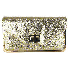Buy Oasis Glitter Envelope Clutch Bag, Gold Online at johnlewis.com