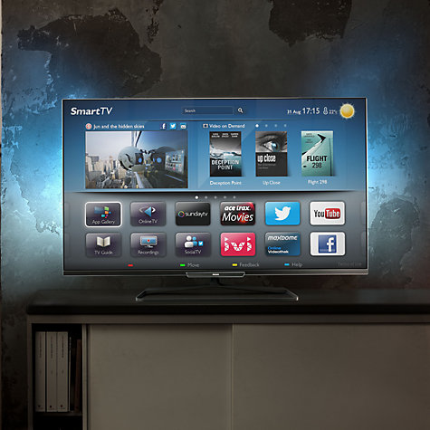 "Buy Philips 55PFL6008S LED 1080p 3D Smart TV, 55"" with Ambilight, Freeview HD & 4x 3D Glasses Online at johnlewis.com"