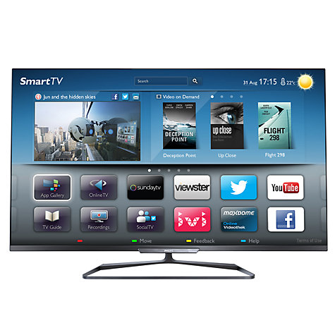 "Buy Philips 42PFL6008S LED 1080p 3D Smart TV, 42"" with Ambilight, Freeview HD & 4x 3D Glasses Online at johnlewis.com"